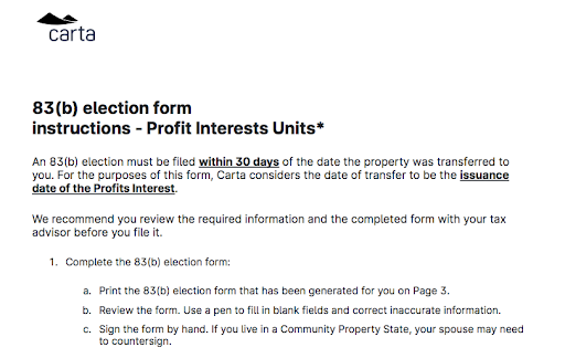 83(b) elections for profits interests instructions