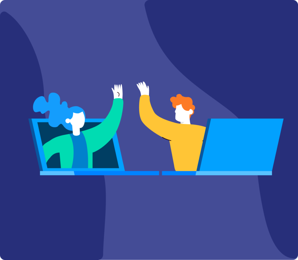 An illustration of two people high-fiving each other through laptop screens